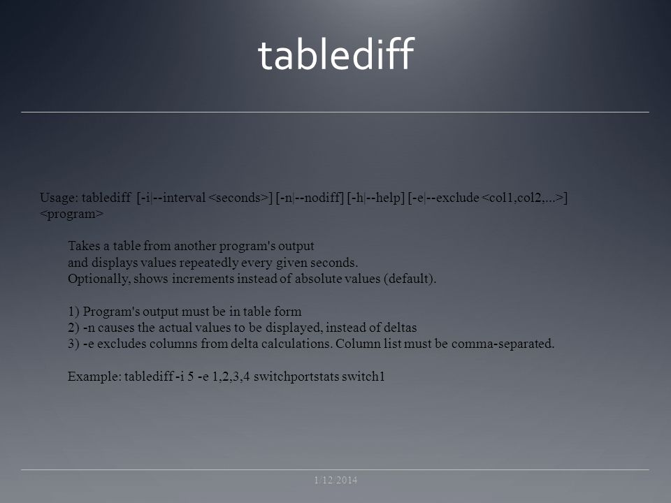 tablediff Usage: tablediff [-i|--interval <seconds>] [-n|--nodiff] [-h|--help] [-e|--exclude <col1,col2,...>]